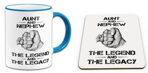 The Legend And The Legacy Novelty Gift Mug with Coaster - Blue Handle / Rim